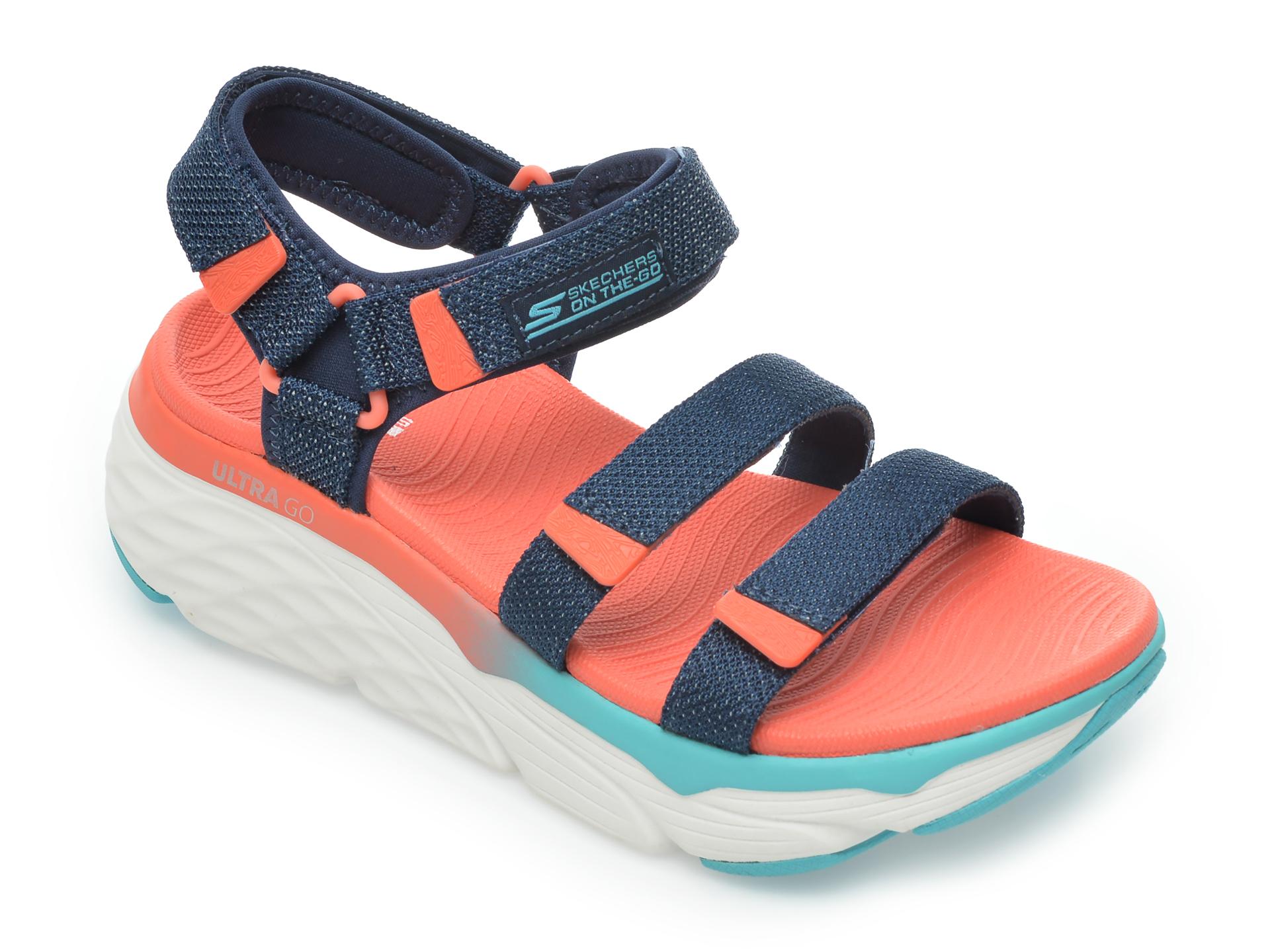 Sandale SKECHERS bleumarin, Max Cushioning Slay, din material textil imagine otter.ro 2021