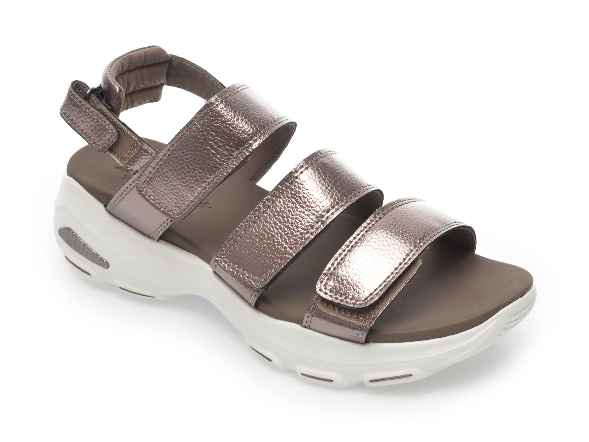 Sandale SKECHERS gri, D Lite Ultra Fab Life, din piele ecologica imagine otter.ro 2021