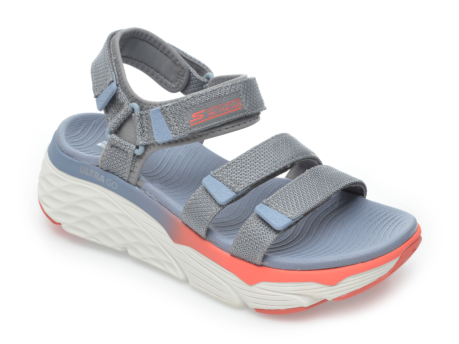 Sandale SKECHERS gri, Max Cushioning Slay, din material textil imagine otter.ro 2021