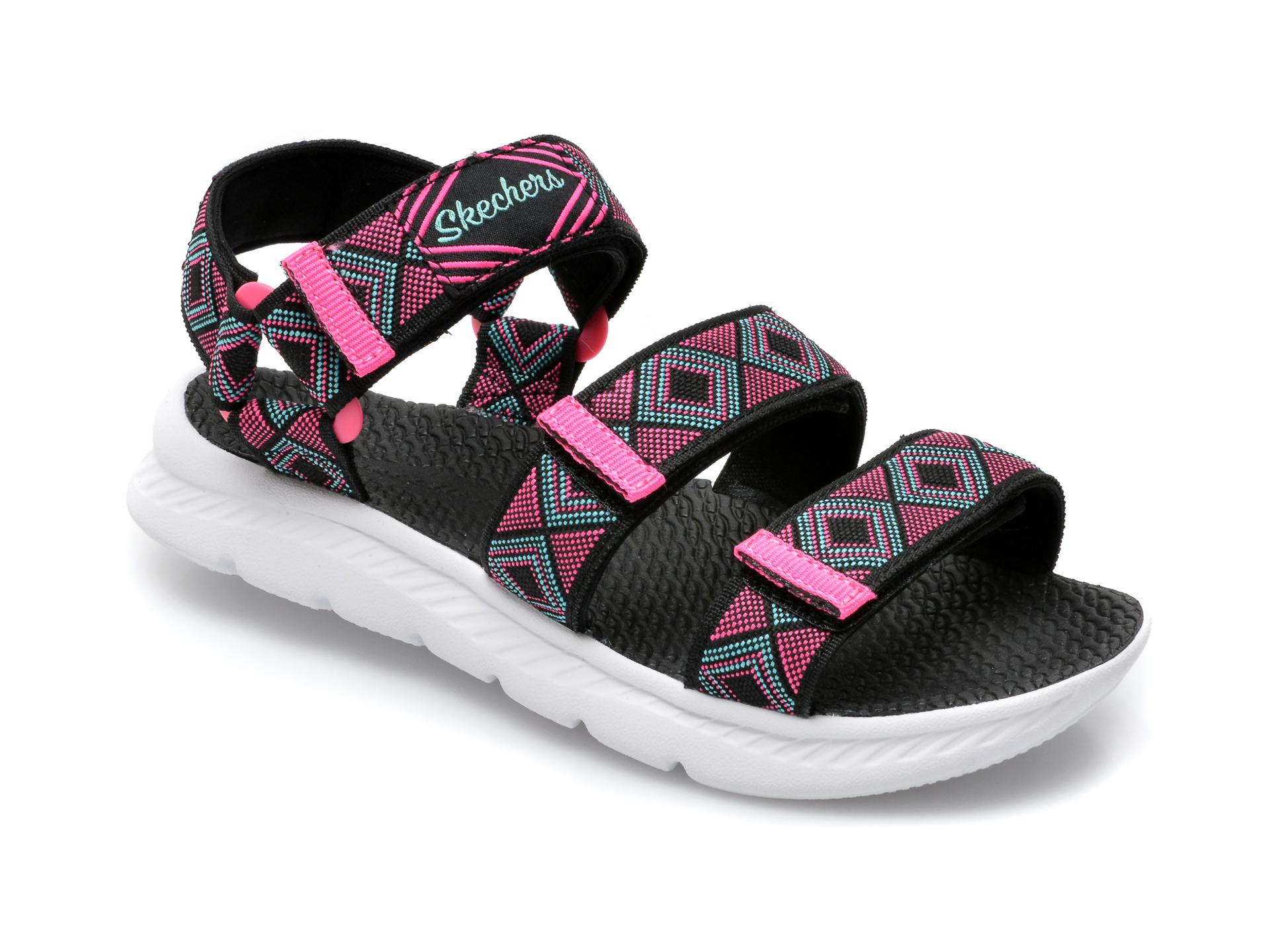 Sandale SKECHERS negre, C-Flex Sandal 2.0 Bohemian Beauty, din material textil imagine otter.ro 2021