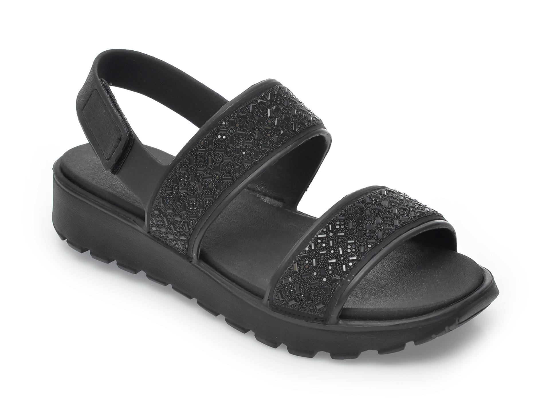 Sandale SKECHERS negre, Footsteps Glam Party, din piele ecologica imagine otter.ro 2021