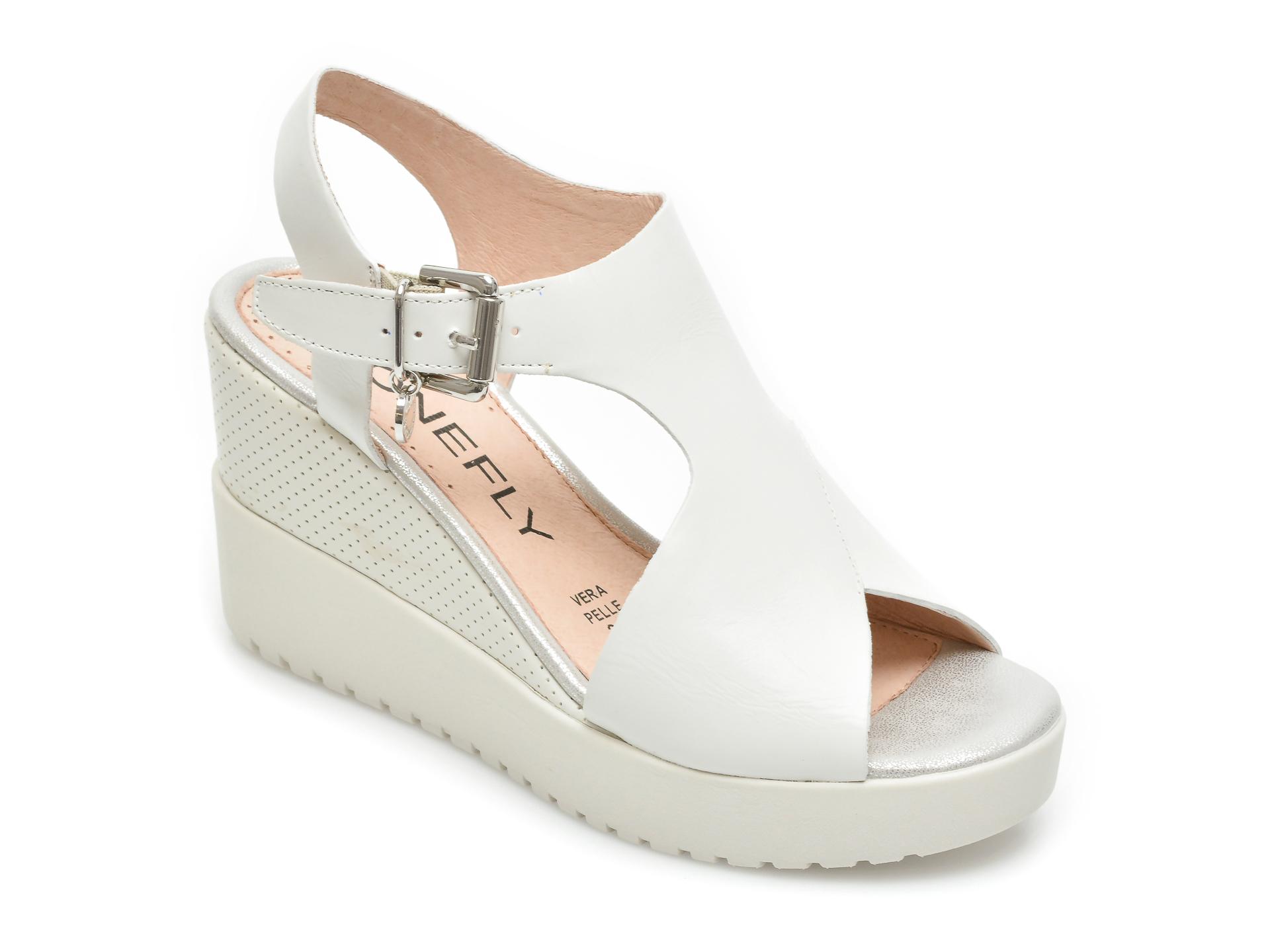 Sandale STONEFLY albe, Ely10, din piele naturala imagine otter.ro