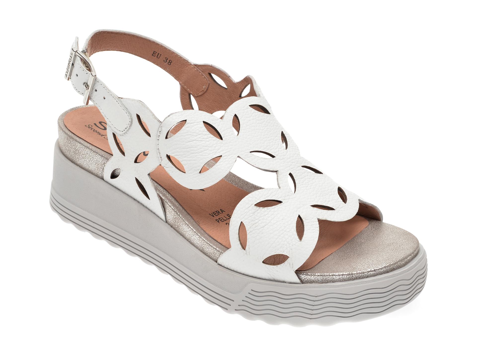 Sandale STONEFLY albe, ELODY9, din piele naturala