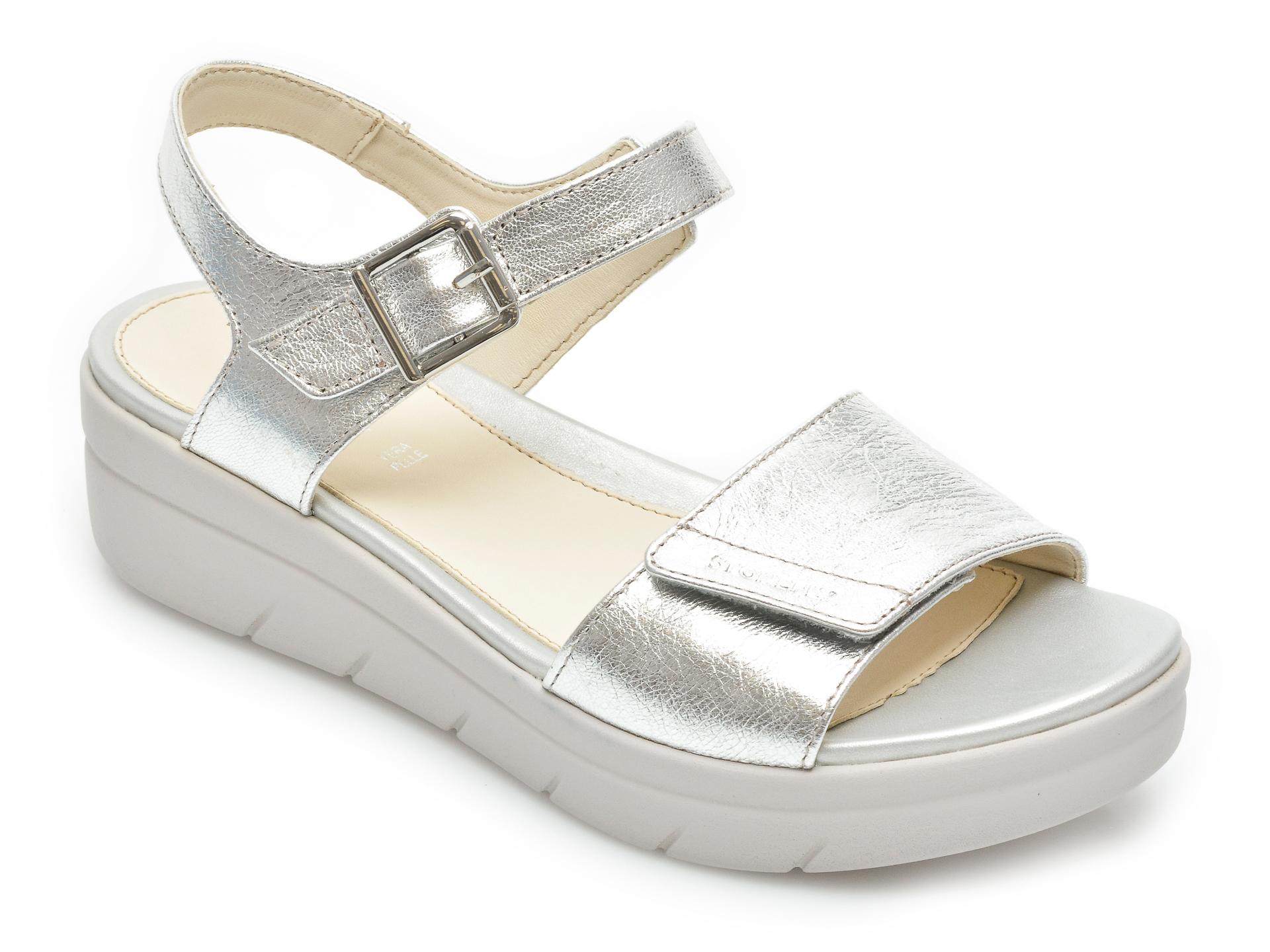 Sandale STONEFLY argintii, Aquii2, din piele naturala