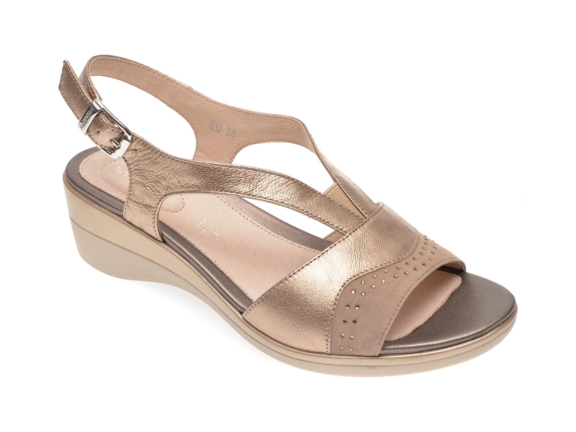 Sandale STONEFLY aurii, VANII22, din piele naturala