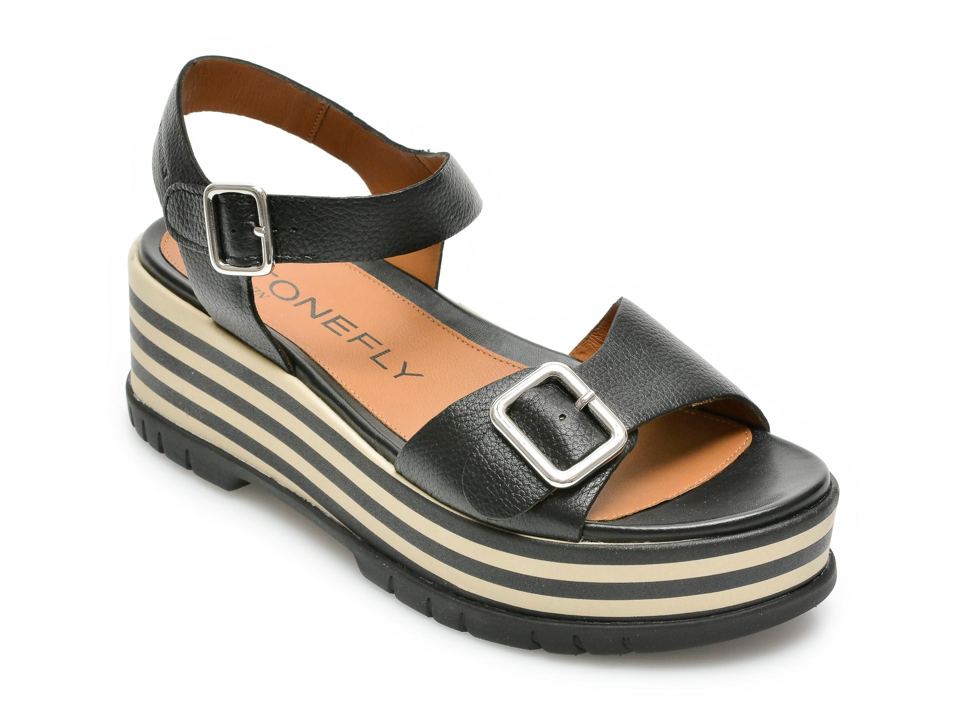 Sandale STONEFLY negre, Kris4, din piele naturala