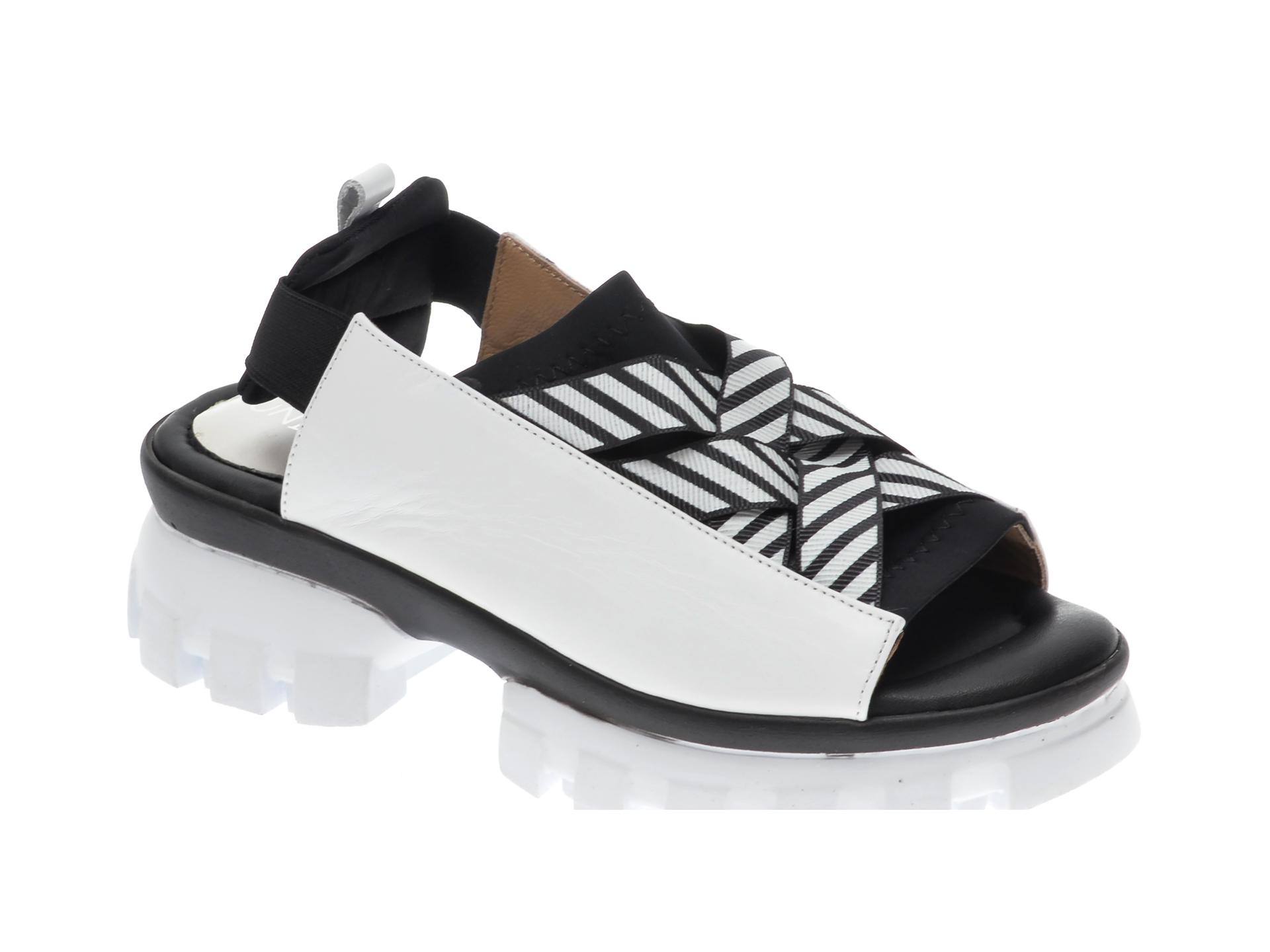Sandale UNICA alb-negru, A6729, din piele naturala imagine otter.ro