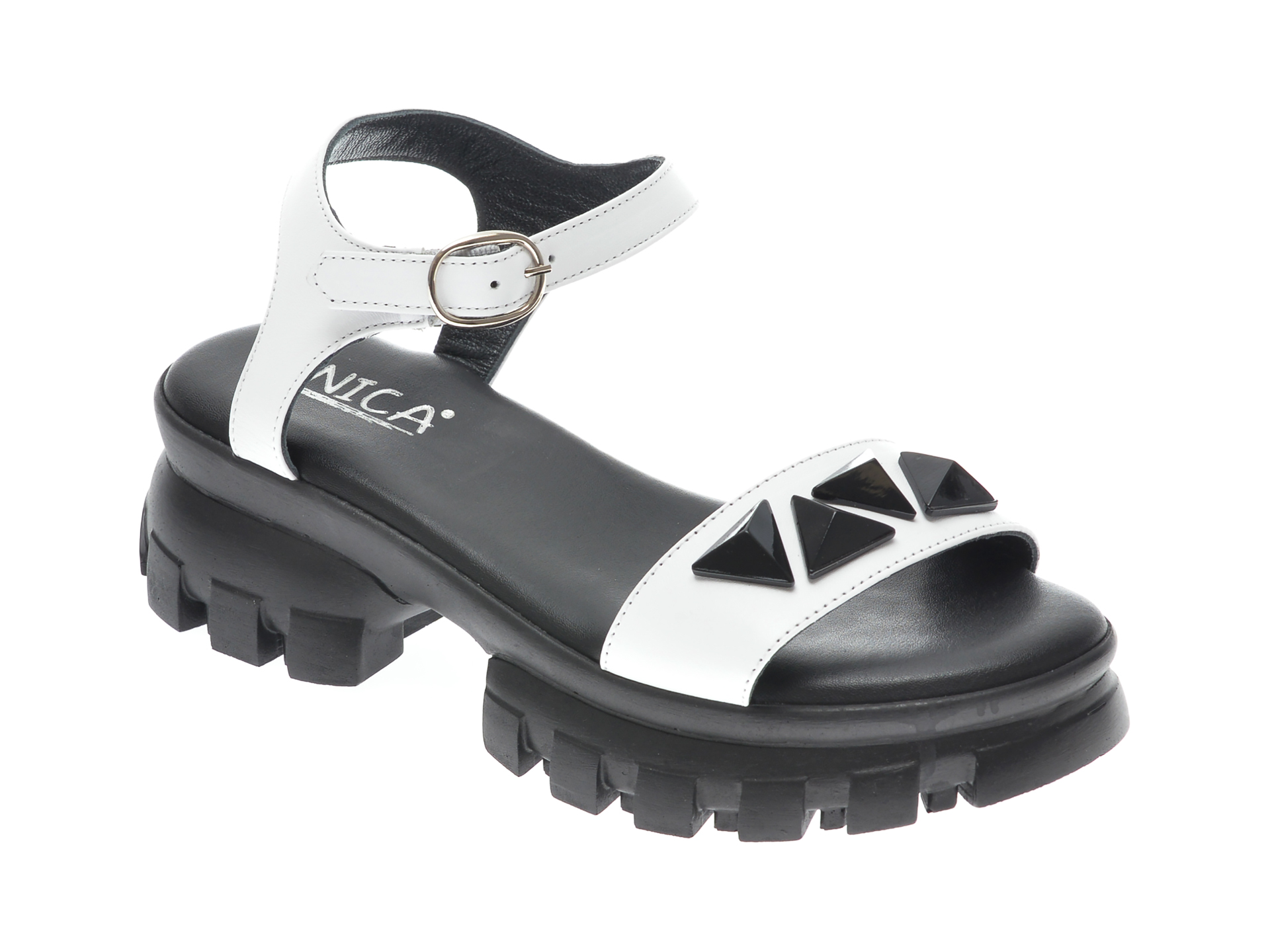 Sandale UNICA albe, A6734, din piele naturala imagine 2021 otter.ro