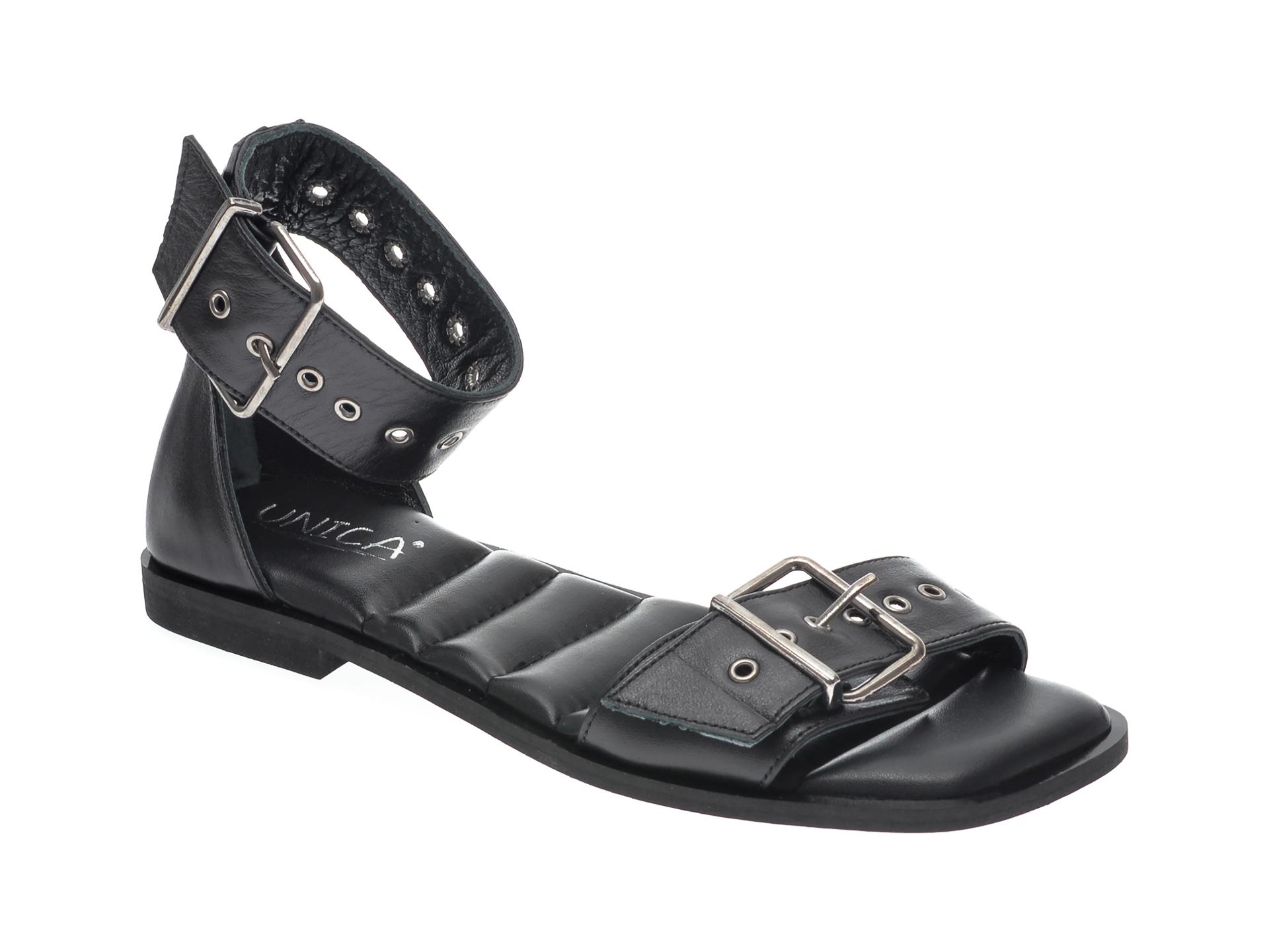 Sandale UNICA negre, A6796, din piele naturala imagine otter.ro