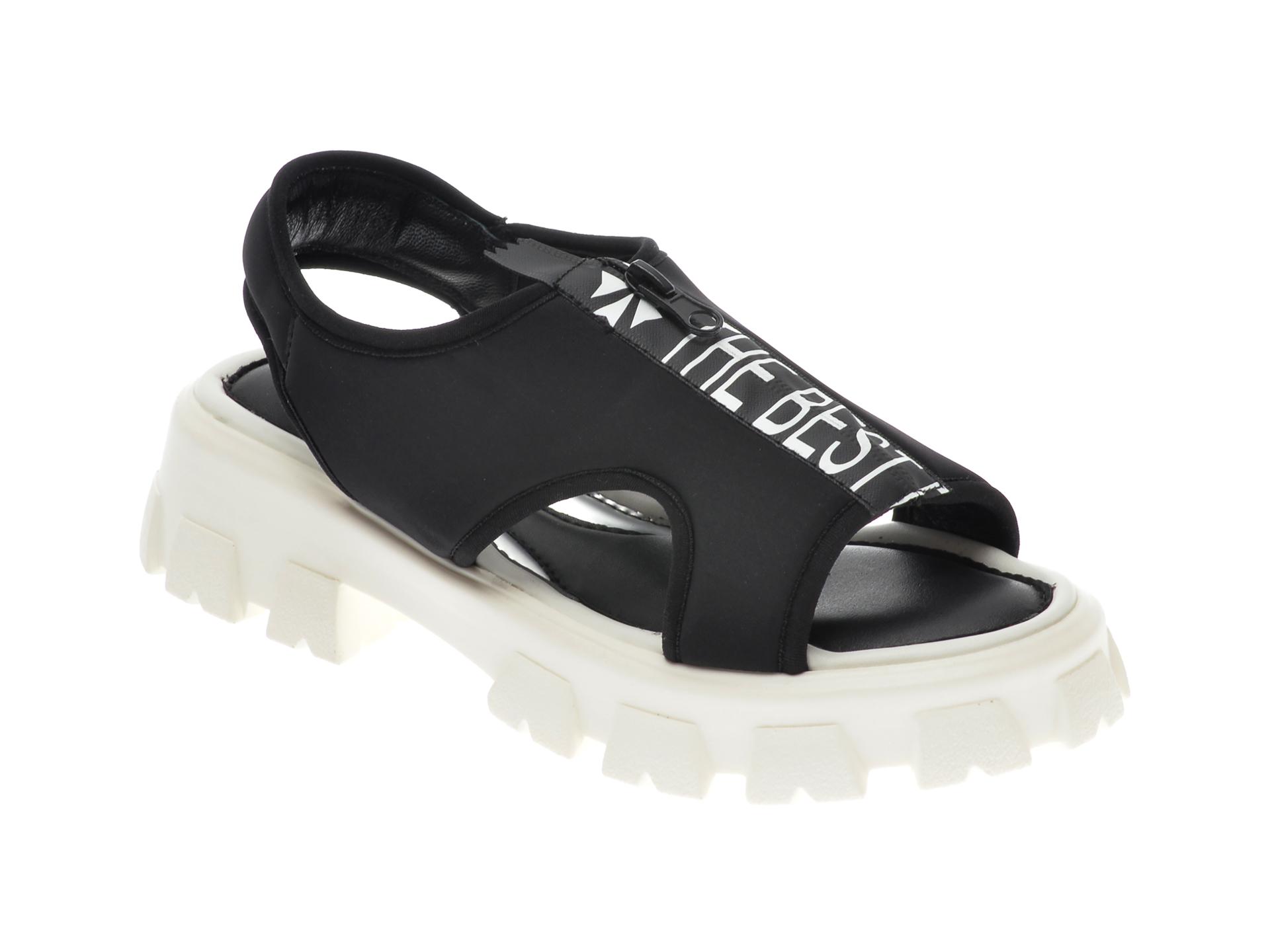 Sandale UNICA negre, A7051, din material textil