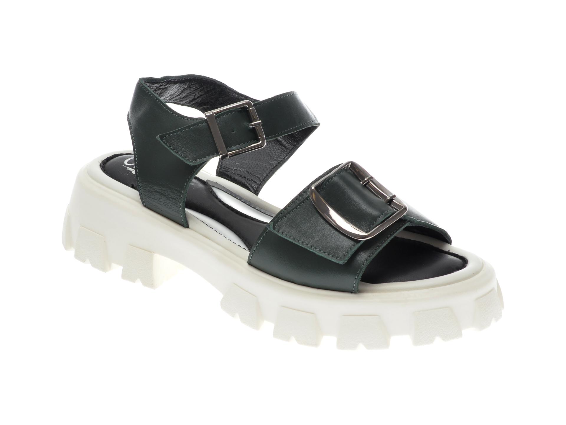 Sandale UNICA verzi, 124, din piele naturala imagine otter.ro