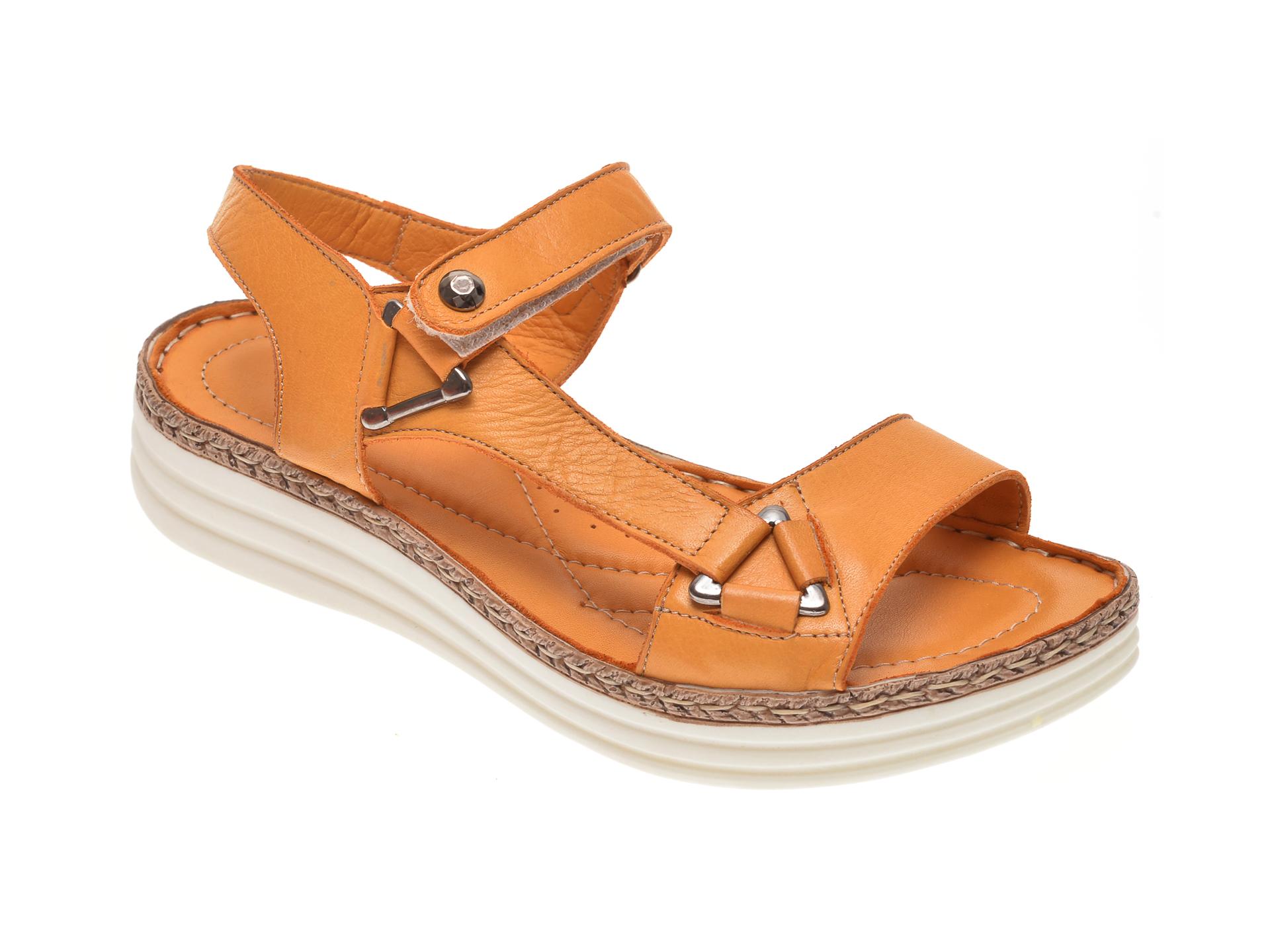 Sandale X TREND galbene, 513, din piele naturala
